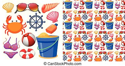 Seamless background design with isolated set of beach objects