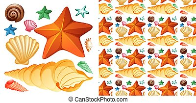 Seamless background design with isolated set of seashells and starfish