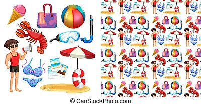 Seamless background design with isolated set of summer holiday