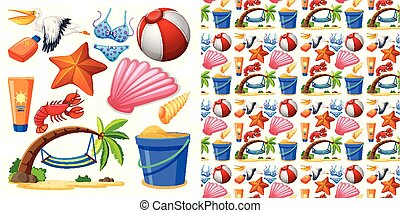 Seamless background design with isolated set of summer theme