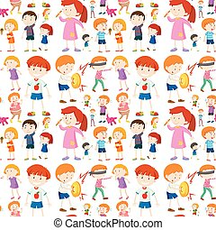 Seamless background design with kid characters
