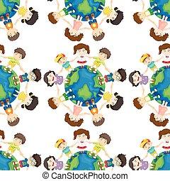 Seamless background design with kids around the world