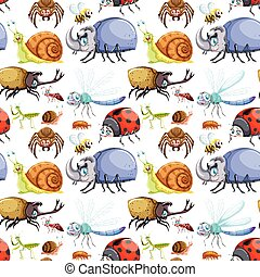 Seamless background design with many insects