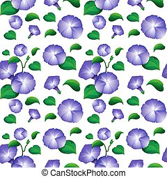 Seamless background design with purple morning glory flowers...