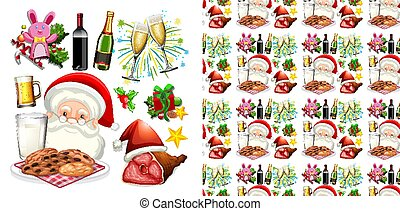 Seamless background design with Santa and christmas food