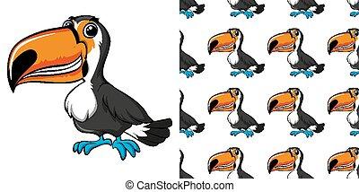Seamless background design with toucan bird