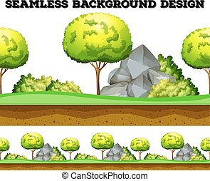 Seamless background design with tree and lawn