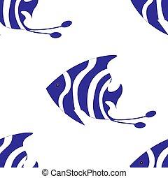 Seamless background, Exotic Fish Pomacanthidae, marine...