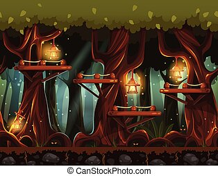 Seamless background fabulous night forest with lanterns, fireflies and wooden bridges in the trees.