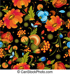Seamless background with traditional flowers on black