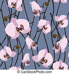 Seamless background from blossoming orchid flowers and stems