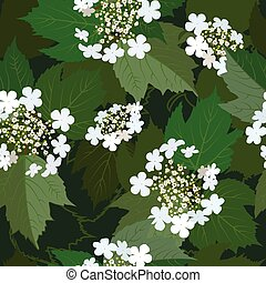 Seamless background from bunch of blossoming viburnum flower