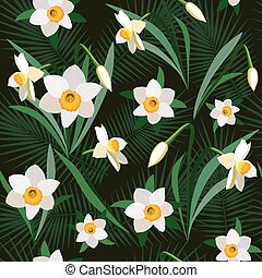 Seamless background from bunch of blossoming narcissus flowers