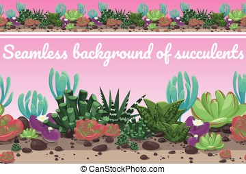 Seamless background from different succulents