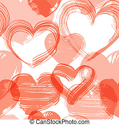 Seamless background from grunge handmade red hearts