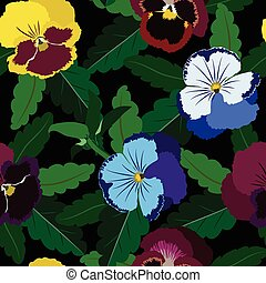 Seamless background from pansy flowers and leaves