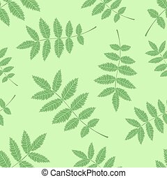 Seamless background from the leaves of mountain ash. Pattern.