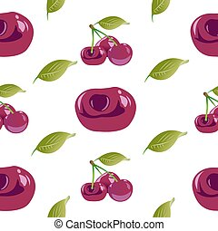 Seamless background from twigs with cherries and green leaves. Vector illustration isolated on white background.