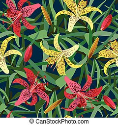 Seamless background from yellow and red tiger lily flower