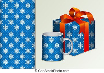 Seamless background Gift and mug and mock up with white snowflakes Concept for design of fabric and paper for printing