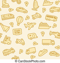 Seamless background, gold transport icons