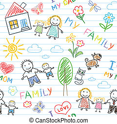 Seamless background - happy family. Sketch on notebook page