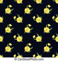 Seamless background image colorful botanic flower leaf plant yellow evening primrose