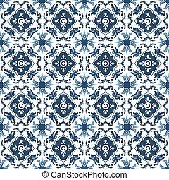 Seamless background image of antique blue flower kaleidoscope