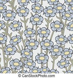 Seamless background image of garden plant vintage blue round flower.
