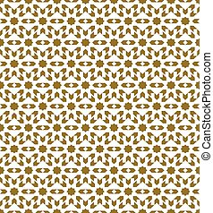Seamless background image of golden star geometry kaleidoscope pattern.