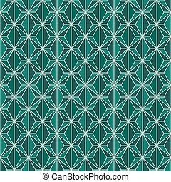 Seamless background image of green polygon cross line geometry.