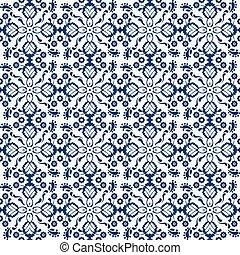Seamless background image of navy blue cross flower kaleidoscope