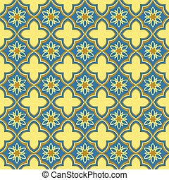 Seamless background image of oriental golden blue curve cross flower
