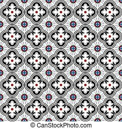 Seamless background image of vintage black kaleidoscope pattern.