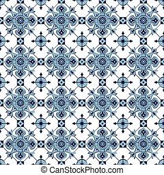 Seamless background image of vintage blue cross check kaleidoscope pattern.