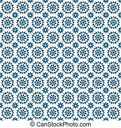 Seamless background image of vintage blue round cross flower