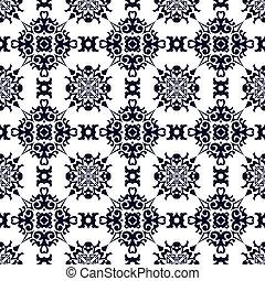 Seamless background image of vintage blue spiral cross kaleidoscope pattern.