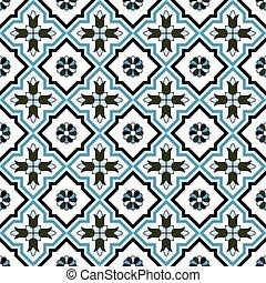 Seamless background image of vintage cross blue flower kaleidoscope pattern.