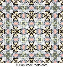 Seamless background image of vintage cross kaleidoscope pattern.