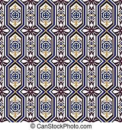 Seamless background image of vintage cross polygon round flower kaleidoscope pattern.