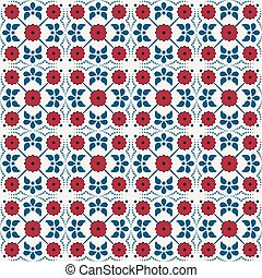 Seamless background image of vintage cross red flower dot line