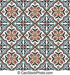 Seamless background image of vintage flower leaf vine cross geometry pattern.