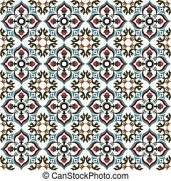 Seamless background image of vintage flower leaf vine kaleidoscope pattern.