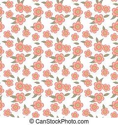 Seamless background image of vintage garden pink flower green leaf.