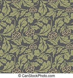 Seamless background image of vintage garden yellow flower green spiral cross leaf.