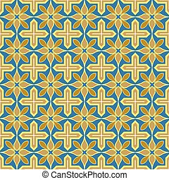 Seamless background image of vintage golden yellow cross geometry flower