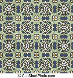 Seamless background image of vintage green blue spiral cross kaleidoscope