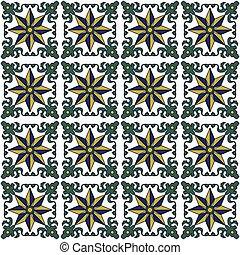 Seamless background image of vintage green leaf spiral vine spine flower pattern.