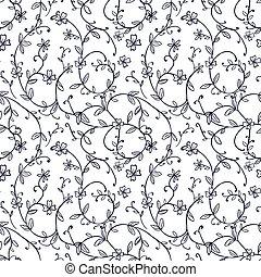 Seamless background image of vintage nature spiral vine flower leaf pattern.