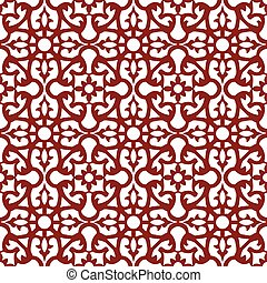 Seamless background image of vintage red flower kaleidoscope pattern.